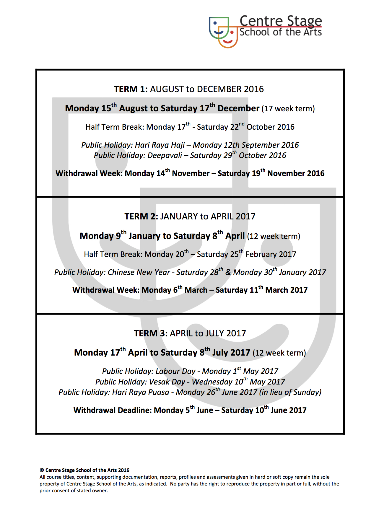 Term Dates 2016 - 17 Academic Year
