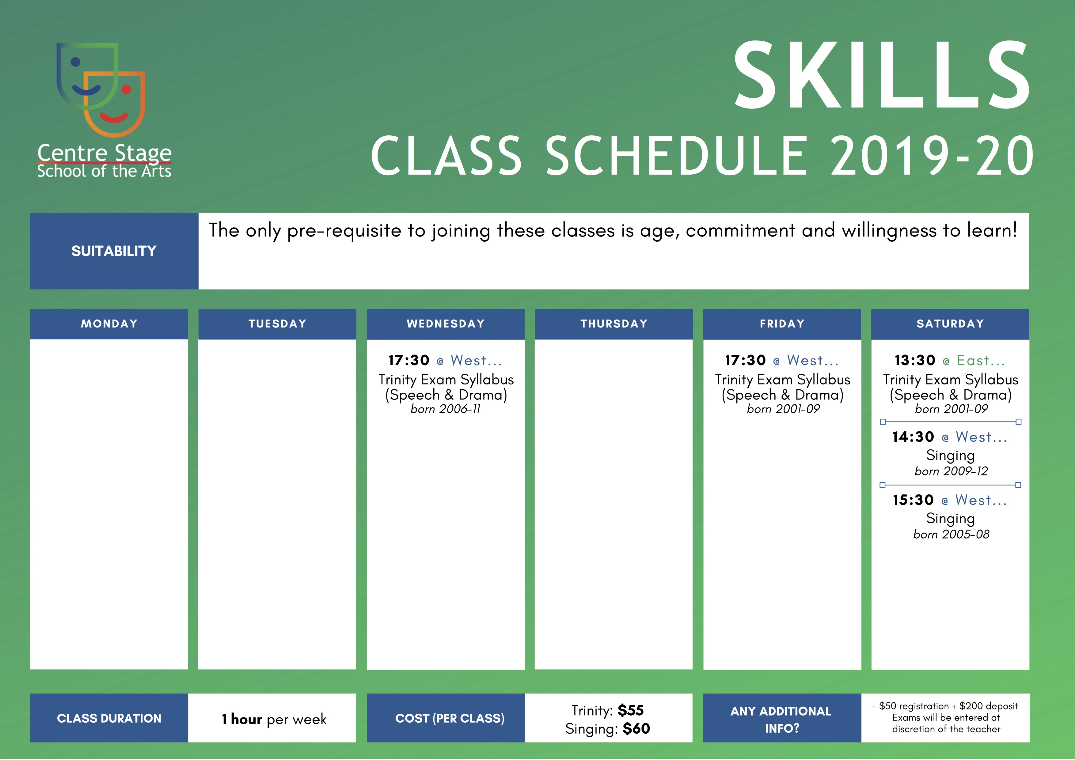 Full Timetable - Centre Stage